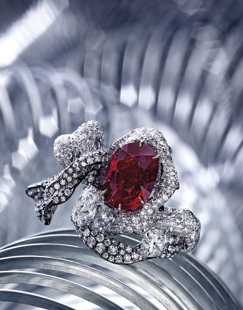 8.03-ct Cushion-shaped Burmese Ruby Diamond ring1s