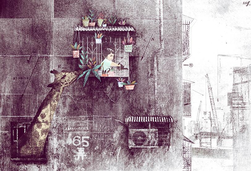 安哲創作的《盆栽森林》中,一群失去家園的小精靈計畫偷盆栽重建家園。在他的作品中經常反思經濟高度發展下的社會現象。(圖/翻攝安哲官網)